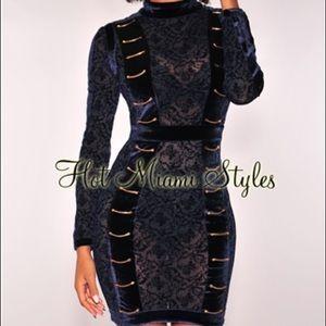 Blue velvet & lace mini dress